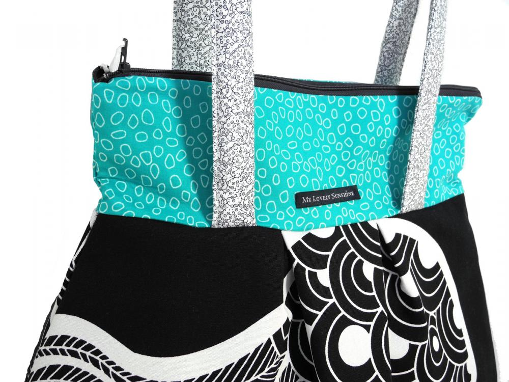 Turquoise Black and White Pattern - Eco Friendly Shoulder Bag / Tote