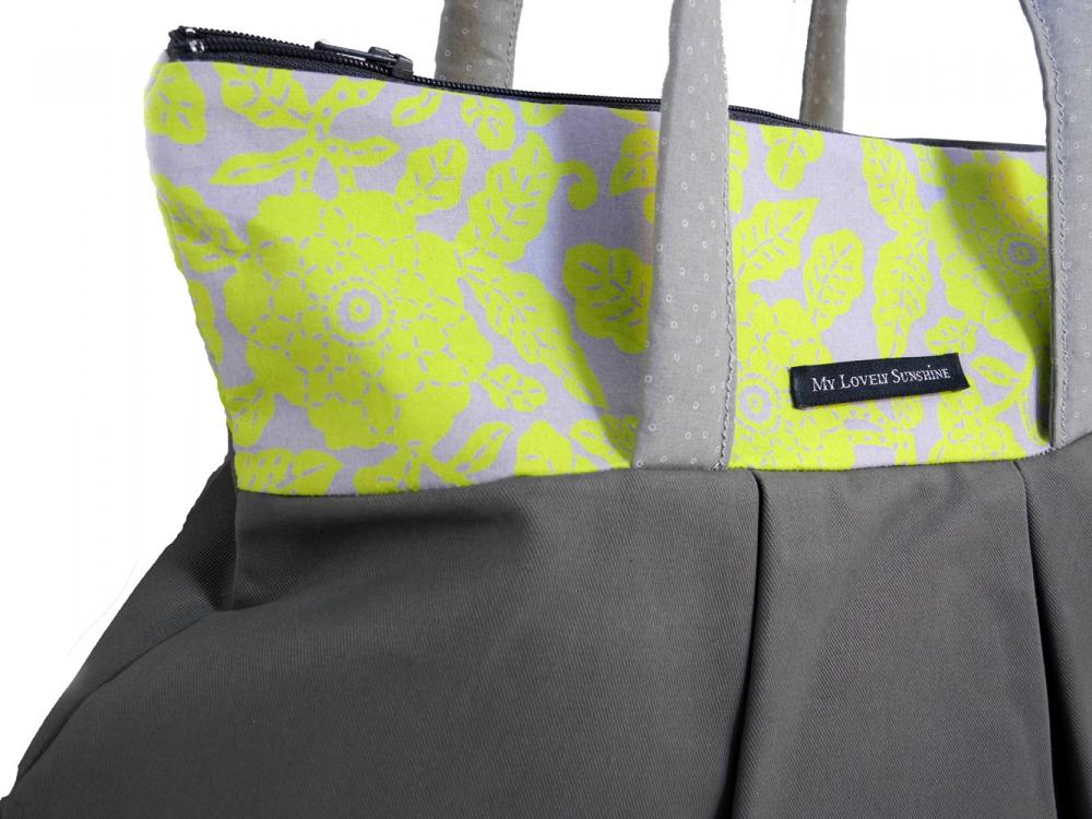 Green Flowers with Gray - Eco Friendly Shoulder Bag / Tote