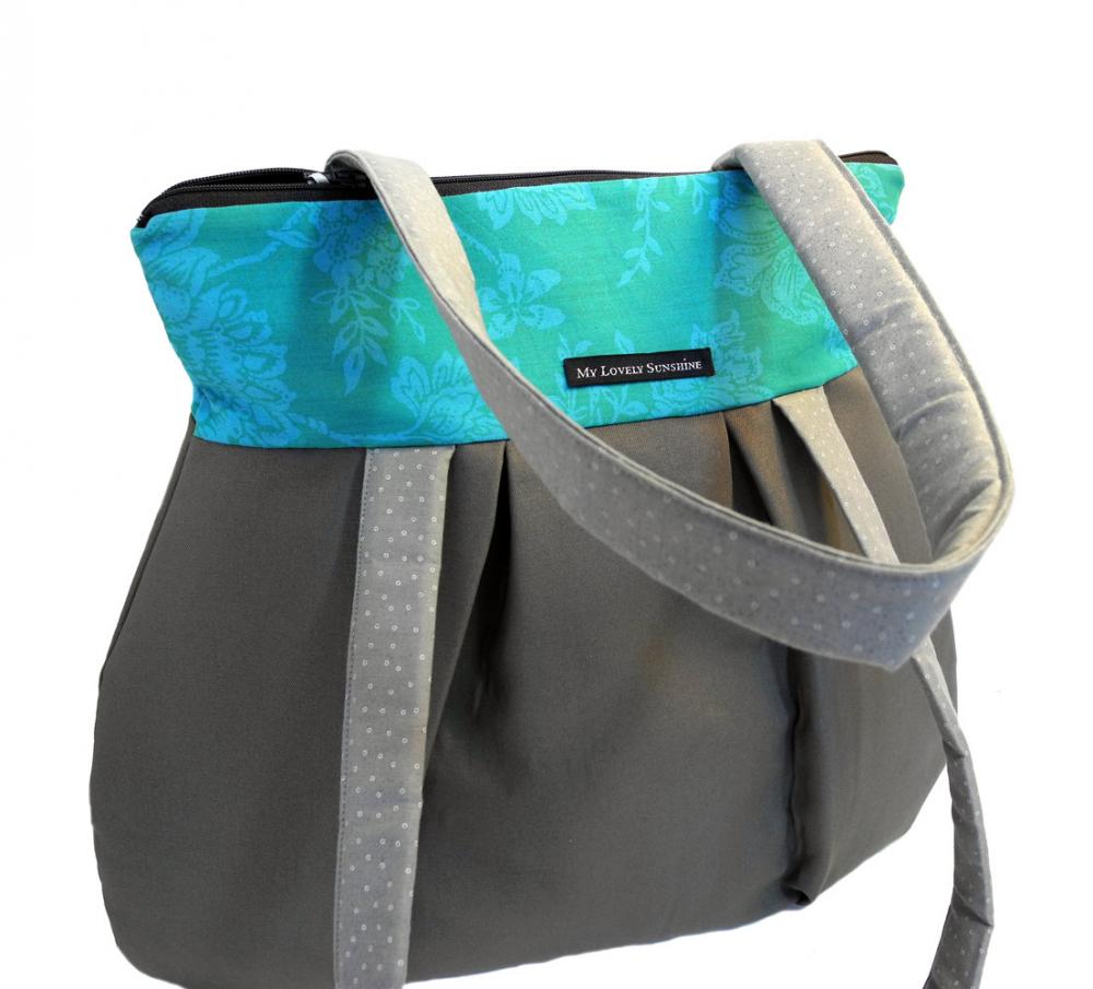 Turquoise with Gray - Eco Friendly Shoulder Bag / Tote