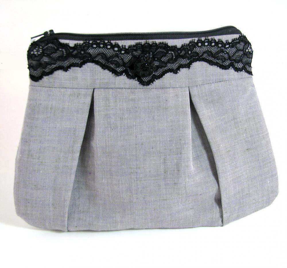 Clutch / Purse / Bag - Elegance Lace and Gray Linen