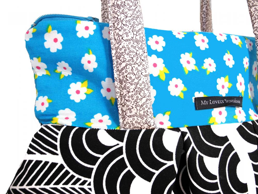 Sky Blue with Black and White Pattern - Eco Friendly Shoulder Bag / Tote