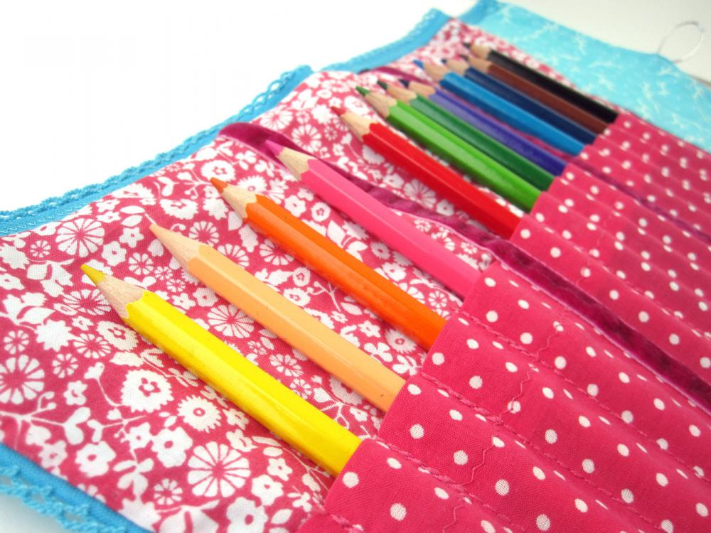 Pencil Roll - Color Pencils -Happy Drawing in Turquoise and Pink Flowers