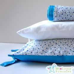 Floral Turquoise Toddler Pillow with Pillow Case - Nursery Basics ,Travel ,Day Care, Kindergarten