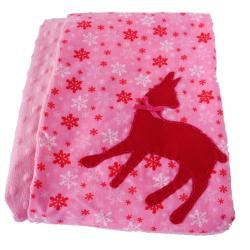 Let it Snow with Deer Aplication - Minky Baby Blanket